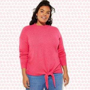 LOFT Plus Tie Front Soft Bright Pink Sweater 14